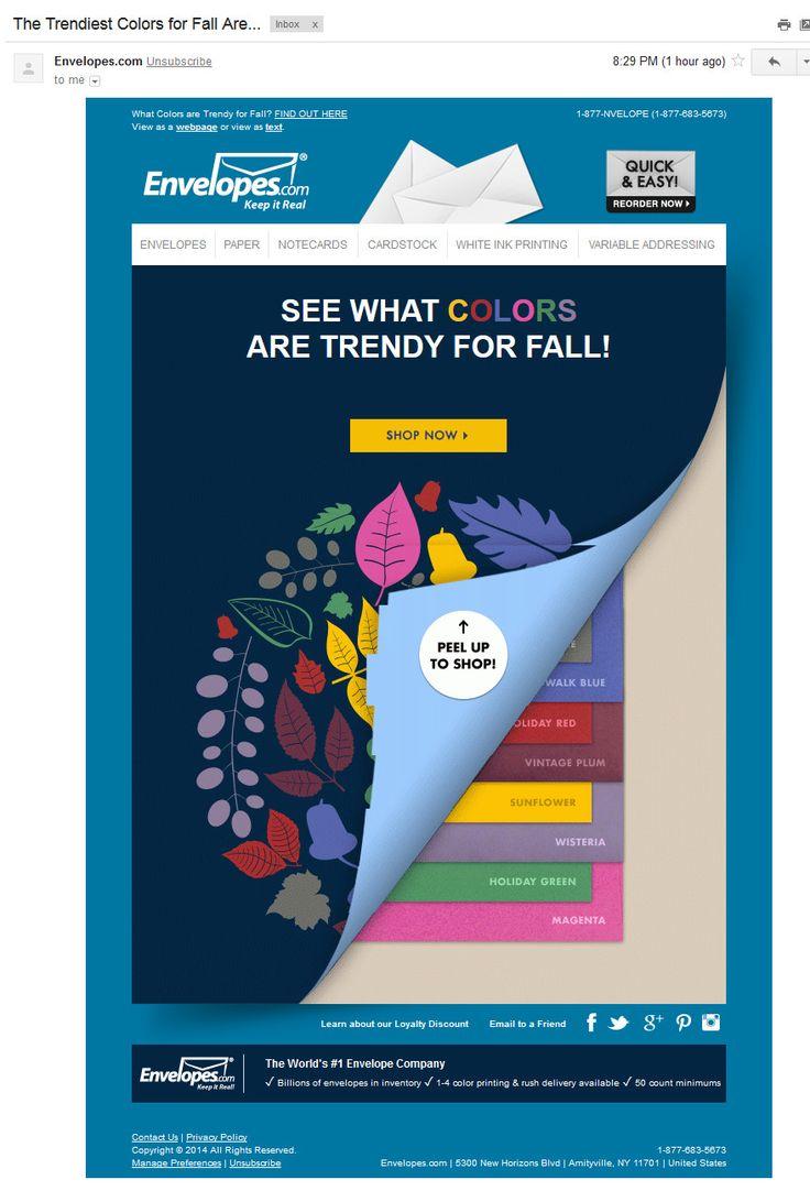 Envelopes.com: анонс подборки товаров по цветам (19/09/2014). Не для всех товаров цветовые решения играют важную роль. Но конверты как раз из той группы товаров, для которой цвет - одна из базовых характеристик. Envelopes очень активно используют тему цвета. Это письмо посвящено оттенкам, популярным осенью. Письмо про летние оттенки по ссылке: http://www.pinterest.com/pin/294704369339539583/