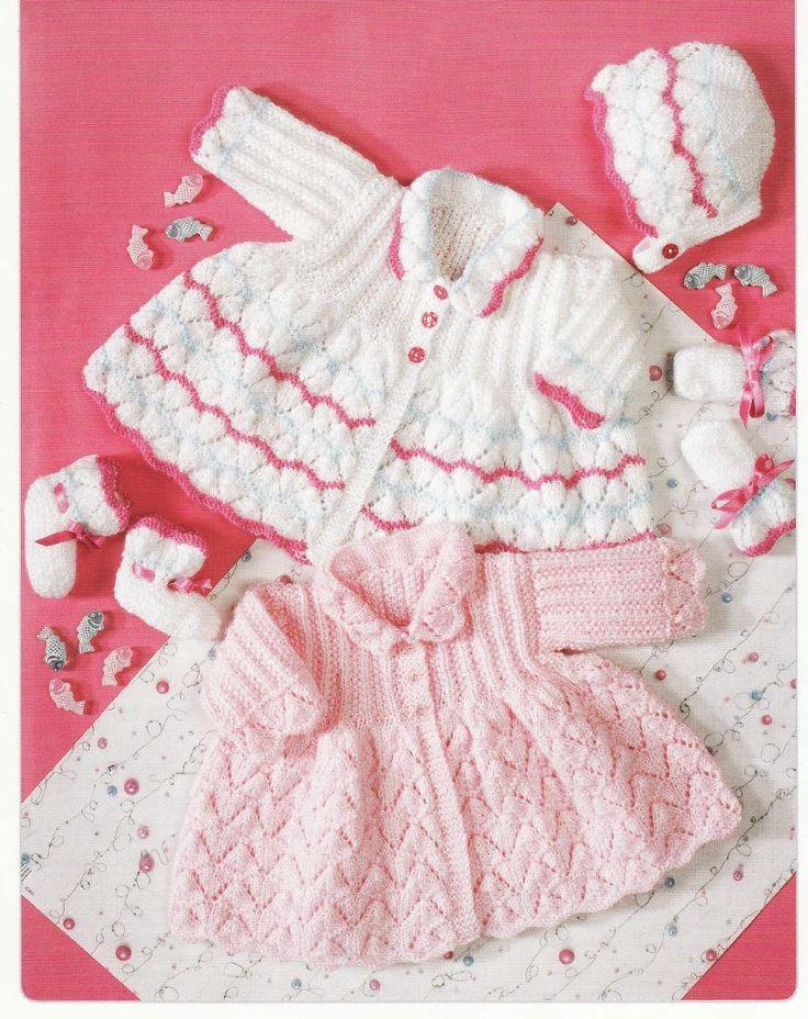 Baby KNITTING PATTERN Matinee Sets Bonnet Bootees por carolrosa