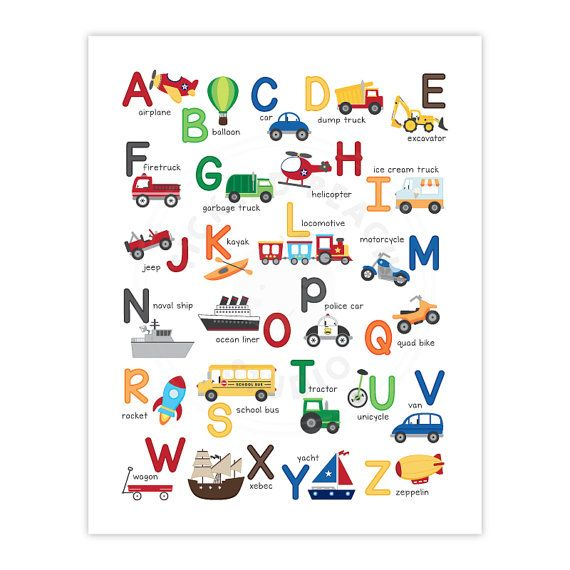 Transportation Alphabet Wall Art - Nursery Art Print - Playroom Decor  This colorful, fun, and educational transportation alphabet wall art