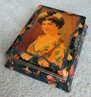 Victorian-Tabletop-Photo-Album-Geisha-Girl-Celluloid-Velvet-Brass-Clasp