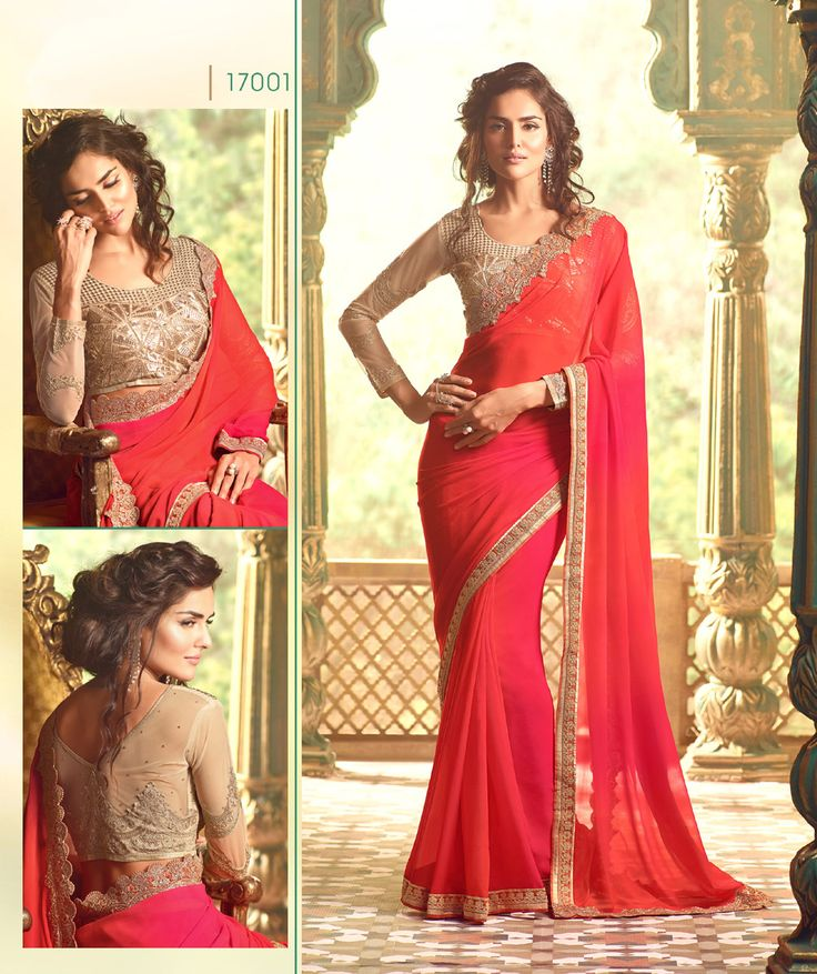 Now show everyone your inner #diva by wearing this #pink and orange #georgette saree. This saree perfectly colored and it look more aggressive. Buy Now :- https://goo.gl/4jo8V7 #CashonDelivery & #FreeShipping Available In India.