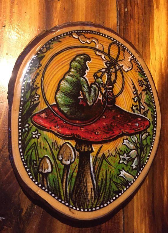 Hookah smoking caterpillar wood slice mushroom trippy alice in