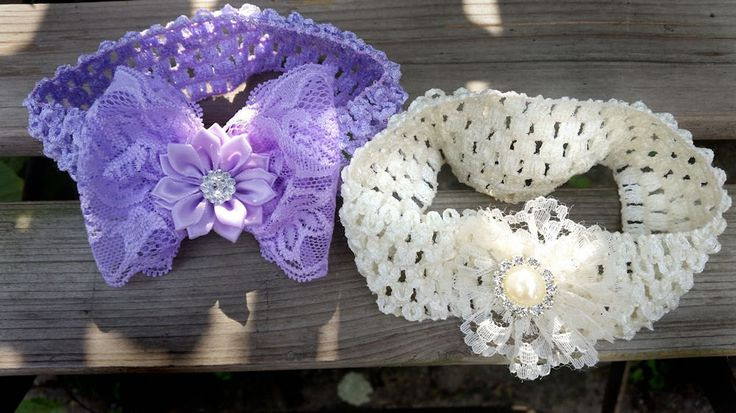 Haarband Lavender en Ivory-baby haarband-peuter haarband-kleuter haarband-haarband met strik-haarband met bloem-kado meisjes alle leeftijden door TheBabyRose op Etsy