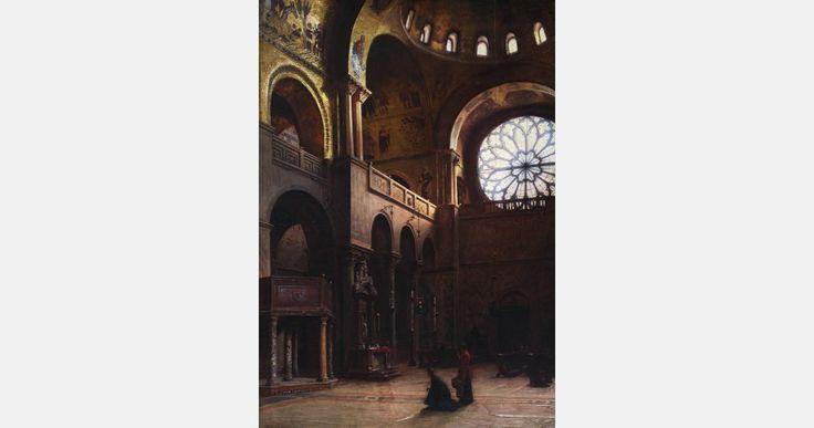 """Aleksander Gierymski, """"Wnętrze bazyliki św. Marka w Wenecji"""", 1899, olej, płótno, 110 x 78 cm, fot. MNW"""