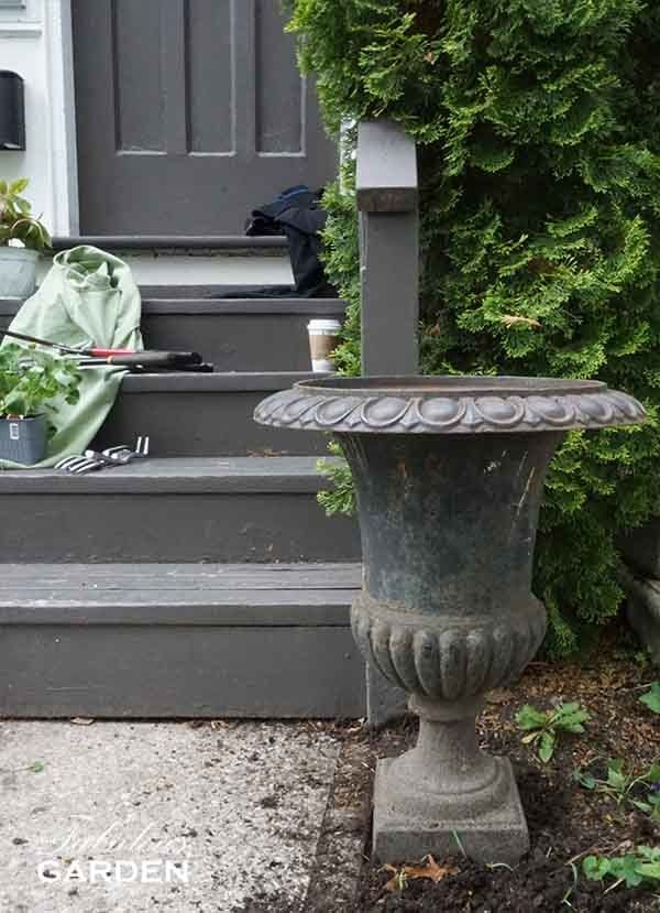How To Paint A Cast Iron Urn The Fabulous Garden Iron Planters Iron Plant Outdoor Urns