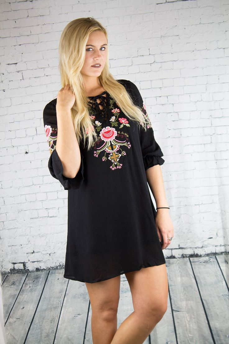 Black dress with embroidered detail that will be an adorable summer staple! Dress it up or down with wedges or sandals.