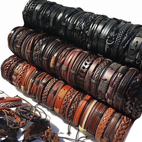 ZotatBele Wholesale 10PCS/lot Mix Styles Braided Leather Bracelets For Men Charm…   – a Leather