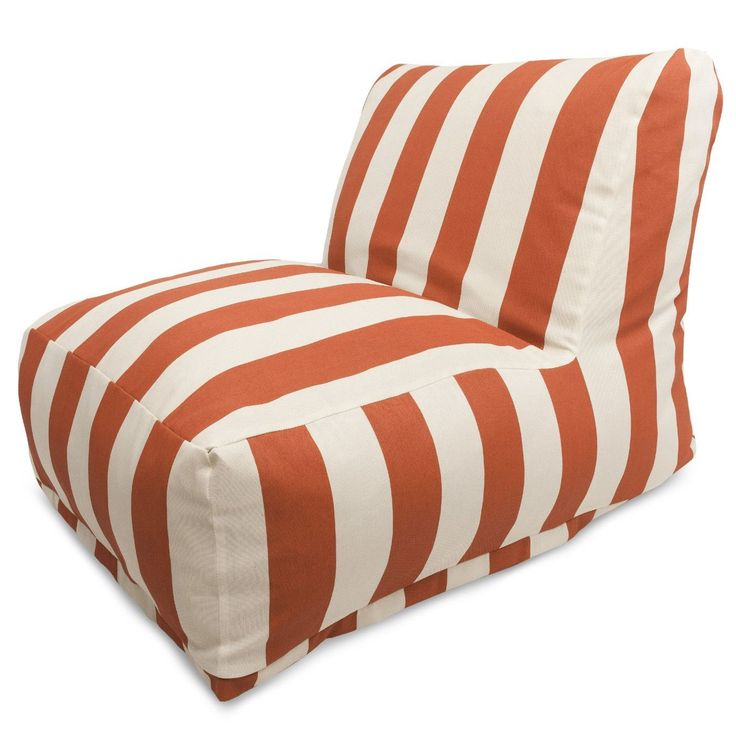 Burnt Orange Vertical Stripe Bean Bag Chair Lounger