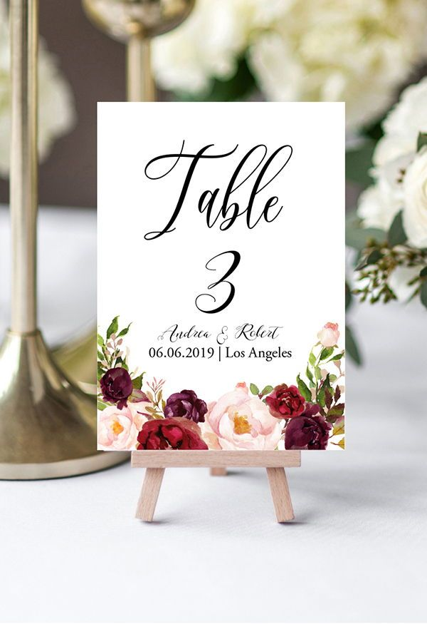 Burgundy Flowers Table Numbers Template Bohemian Table Etsy Card Table Wedding Wedding Table Designs Wedding Table Numbers