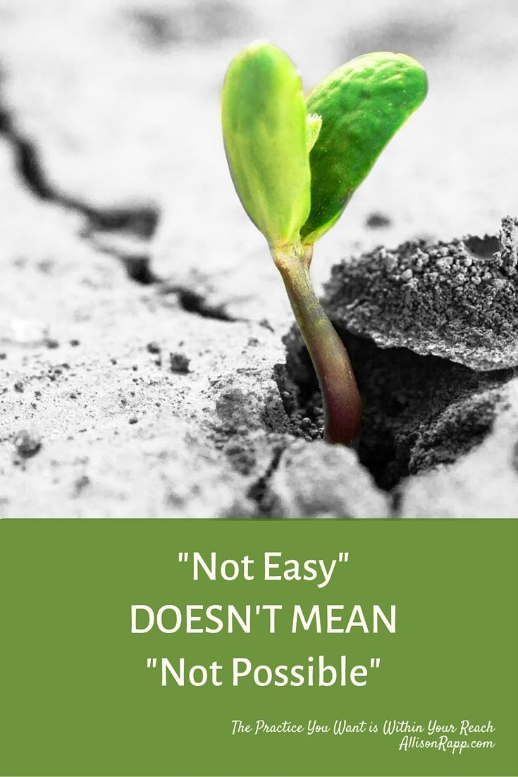 """""""Not Easy"""" doesn't mean """"Not Possible."""" Nobody said being self-ployed was easy... so get the help you need! https://AllisonRapp.com #Feldenkrais #yoga #somatic"""