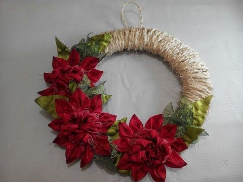 COMO BORDAR UNA CORONA DE NAVIDAD CON CINTAS / EMBROIDERED CHRISTMAS WREATH ON RIBBONS - YouTube