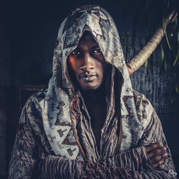 Tribal Warrior Sequin Hood- Reversible- Mens Egyptian Halloween Burning Man Festival Costume
