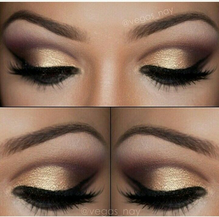 Make com marrom e dourado.