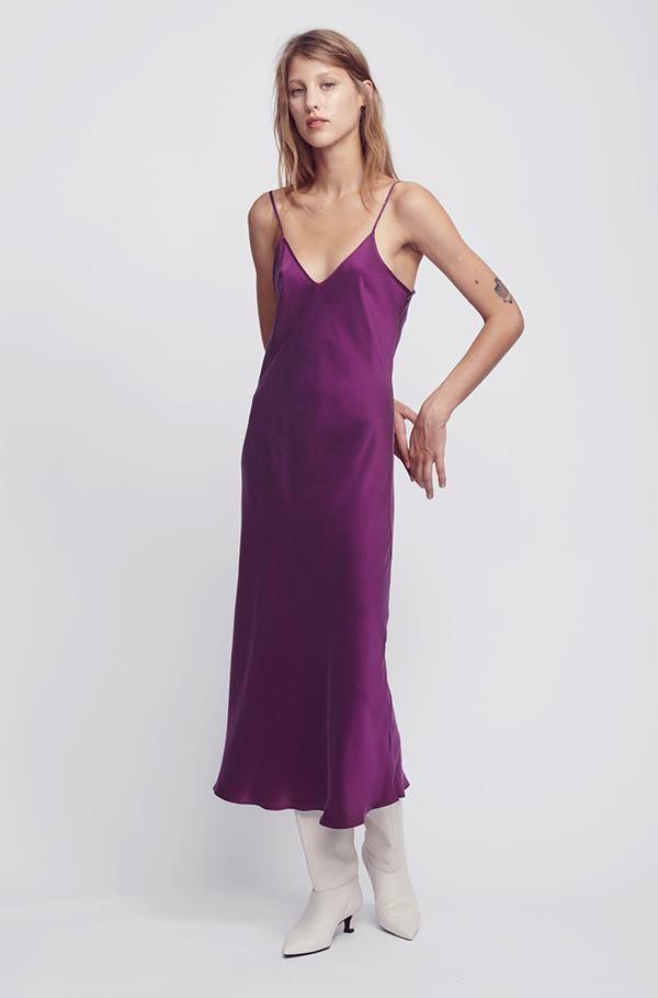 266d5dbe6795 90s silk slip dress burnt violet in 2019 | Fashionista - Spring ...
