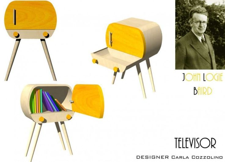 Il mio progetto è ispirato a John Logie Baird, l'inventore della televisione che nasce dopo la prima guerra mondiale, ad oggi è l'oggetto più venduto della storia. L'ispirazione è nata dalla forma della prima televisione degli anni '50, arrotondata e con grandi interruttori d'accensione. Il tavolino è concepito come mobile d' ingresso,  utile per riporvi chiavi, piccoli oggetti e telefoni, ma anche libri. Grazie alle sue dimensioni permette di arredare facilmente anche piccoli spazi, che…