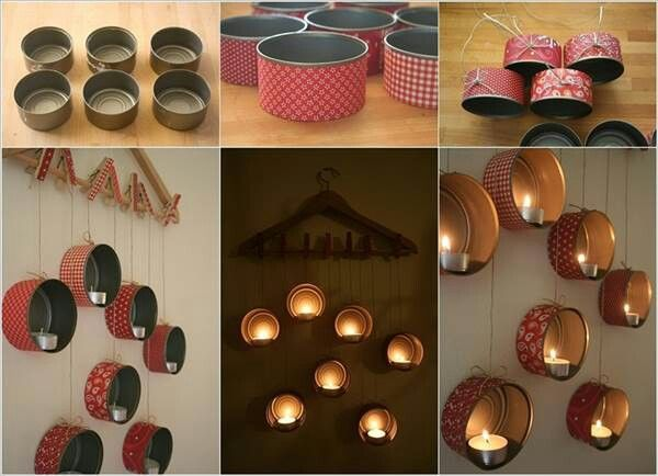 اعادة تدوير علب التونة Recycled Tuna Boxes Diy Candle Holders Diy Candles Cute Diy Room Decor