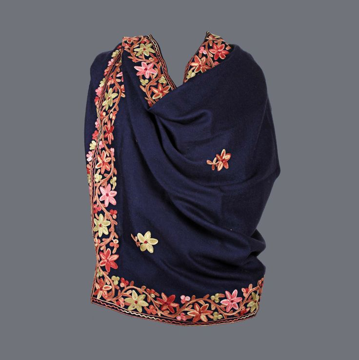 Featuring this Navy Blue Parsi Aari Work Wool Stole  in our wide range of Stoles. Grab yourself one. Now!