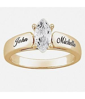 Personal Creations #Gifts  #Personalizedgifts 18K Gold Plated Sterling Marquise CZ Personalized Wedding Ring - Wedding Gifts Personal Creations. $109.99 - Great Personalized Gifts via- http://www.AmericasMall.com/personalcreations-gifts