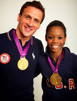 Gabby Douglas, Ryan Lochte, and their gold medals:)
