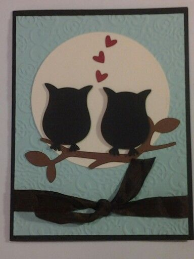 Cute Happy Anniversary card with Owl punch