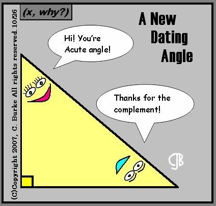 """Hi! You're Acute angle! Thanks for the complement!"" --- Follow My Math Jokes Board for more Math Humor: http://www.pinterest.com/mathfilefolder/math-jokes-humor/ #MathHumor #MathJokes"