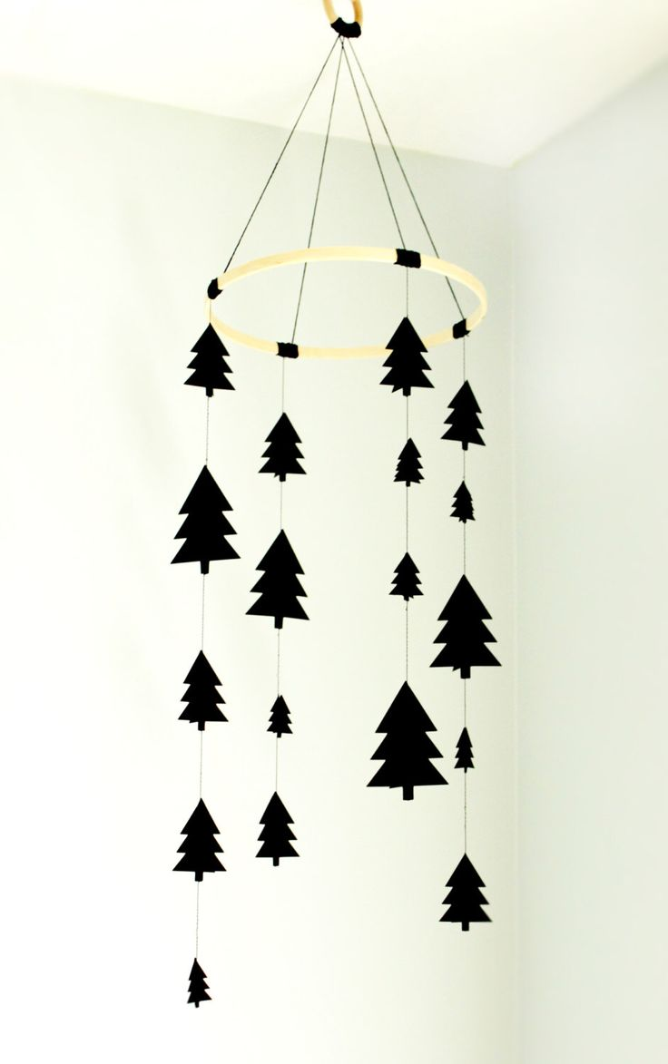 Tree mobile, woodland mobile, black tree mobile, scandinavian tree mobile, nursery mobile, modern mobile, modern nursery mobile, baby gift by TheUrbanHedgehog on Etsy https://www.etsy.com/listing/475699775/tree-mobile-woodland-mobile-black-tree