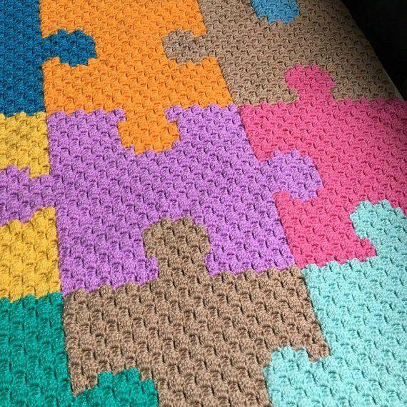 Puzzle piece - C2C Crochet Pattern - Baby blanket pattern