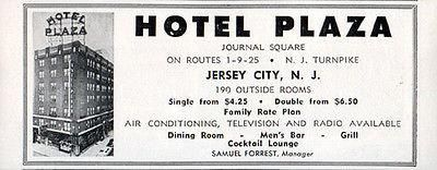 Hotel Plaza Jersey City NJ 190 Rooms AC TV Radio Options 1956 Travel Tourism AD