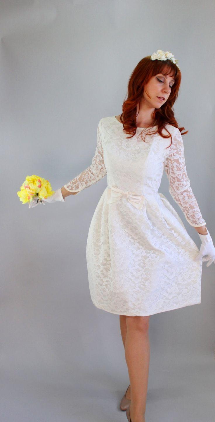s wedding dresses 60's wedding dress s Short Lace Wedding Dress Long Sleeves Bow Mod Reception Dress Spring Wedding Size Medium