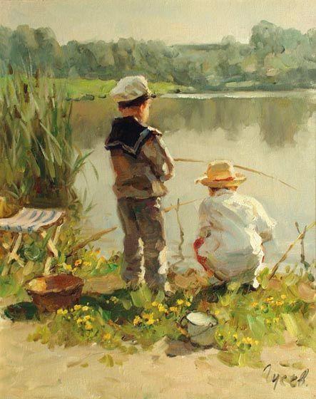 Young fishermen by Vladimir Gusev