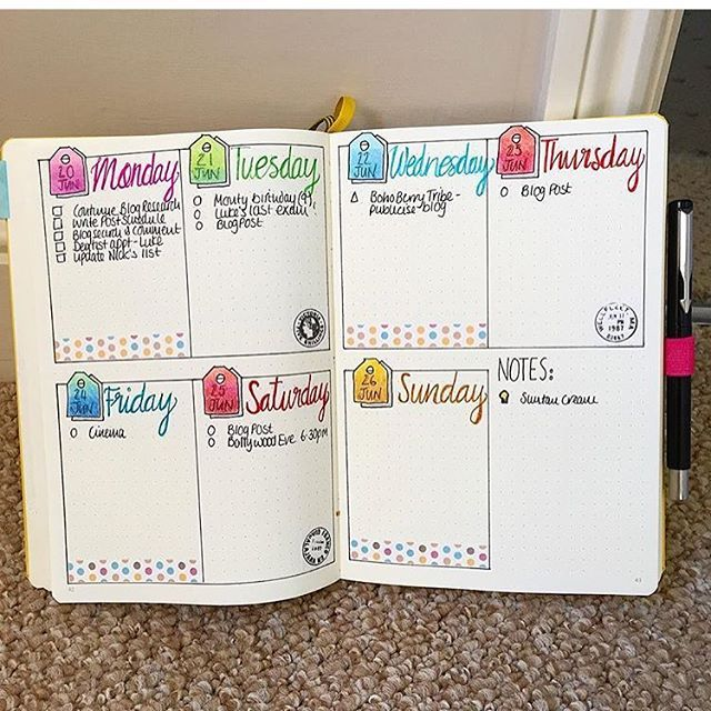 Love love love this from @crafthippy ! Not sure how I want to separate to-do and events from notes and food/workout/water log yet, but I like this one!