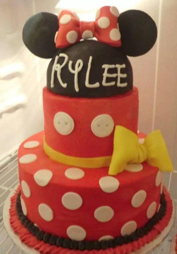 Handmade Fondant Minnie Mouse inspired cake topper
