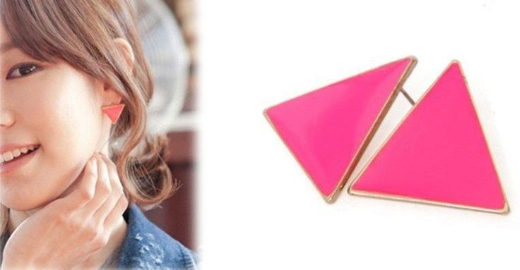 Enameled Pink 80's Style Triangle Earrings Gold Trim Retro Chic Punk Trendy Stud #Unbranded #Stud