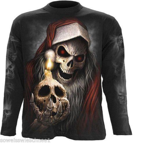 Spiral-T-Shirt-Longsleeve-Anti-Santa-Skull-Schaedel-x-mas-Gothic-Rock-Steampunk