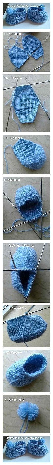 A beautiful blue handmade DIY baby shoes fur ball is complete, hobbies ...