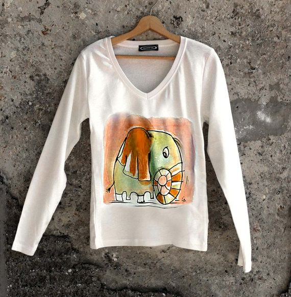 Hand painted elephant t shirt. Long sleeve cotton by AHouseAtelier