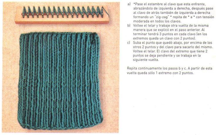 Loom knitting stitches, instructions in Spanish  ♥LLK♥ Telar rectangular instruccciones en Español #13