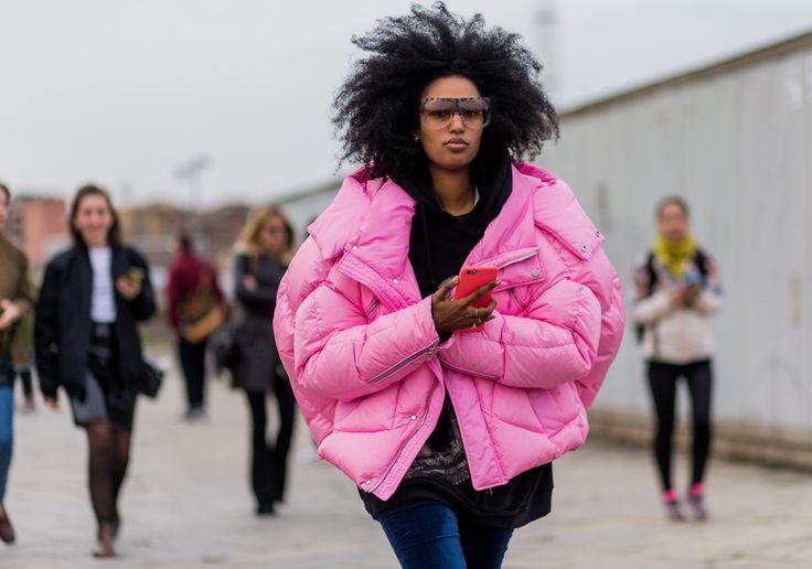 A pink puffer jacket