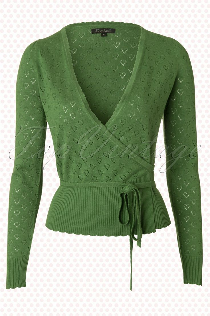 King Louie - 40s Wrap Heart Ajour Top in Green