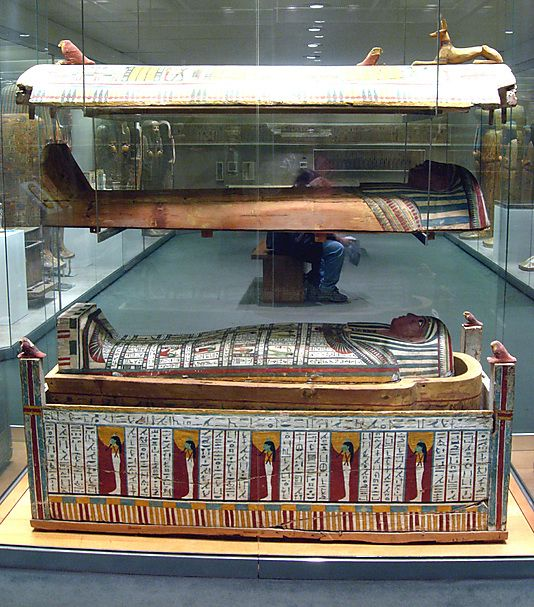 Outer Coffin of Tabakenkhonsu: Jackal from Top Period: Late Period, Kushite Dynasty: Dynasty 25 Date: ca. 680–670 B.C. Geography: Country of Origin Egypt, Upper Egypt; Thebes, Deir el-Bahri, Temple of Hatshepsut, Hathor Shrine, pit in hypostyle hall, EEF 1894–1895 Medium: Wood, gesso, paint, stucco
