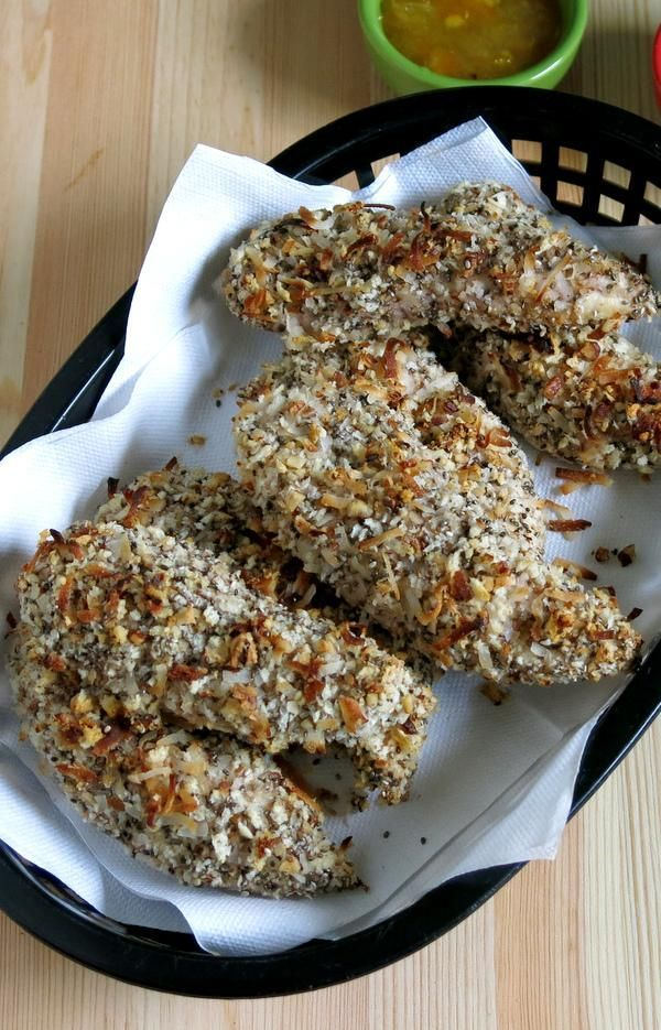 Baked Chicken Fingers and easy Orange Dipping Sauce recipe. Kids and adults love this nutty breading...and you can store some in the freezer too! By @ DinnerMom