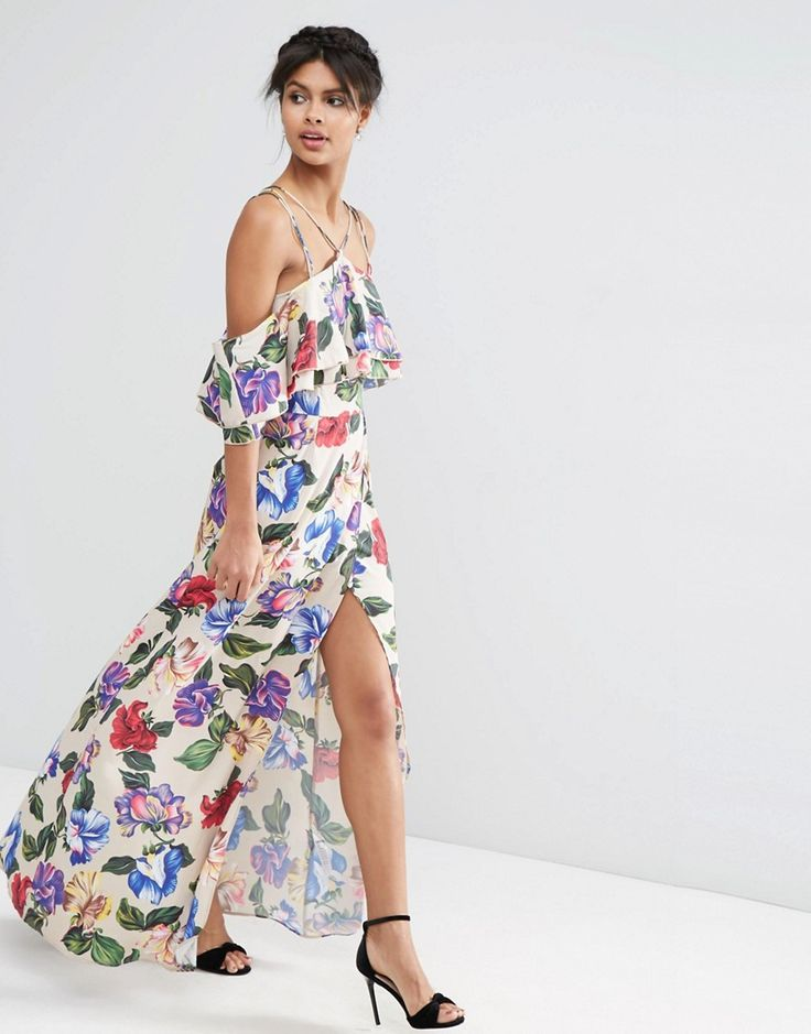 ASOS+Floral+Ruffle+Top+Maxi+Dress