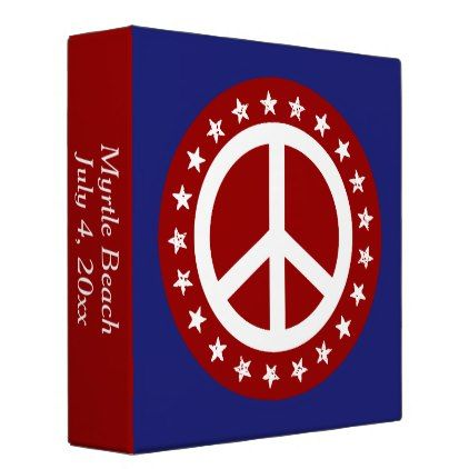 Red White and Blue Peace Sign and Stars Binder - diy cyo customize create your own #personalize
