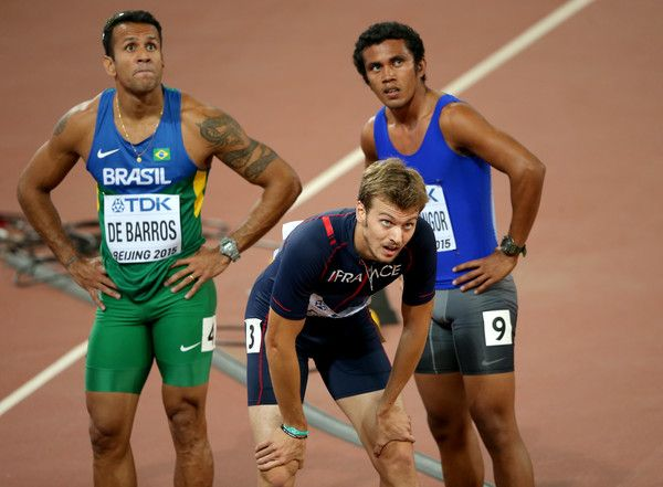 Bruno de Barros Photos Photos - (L-R) Bruno De Barros of Brazil and Christophe Lemaitre of France and look on after competing in the Men's 200 metres heats during day four of the 15th IAAF World Athletics Championships Beijing 2015 at Beijing National Stadium on August 25, 2015 in Beijing, China. - 15th IAAF World Athletics Championships Beijing 2015 - Day Four