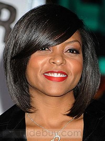 Chic Attractive Bob Hairstyle Short Straight Jet Black Lace Wig 100% Human Hair about 10 Inches