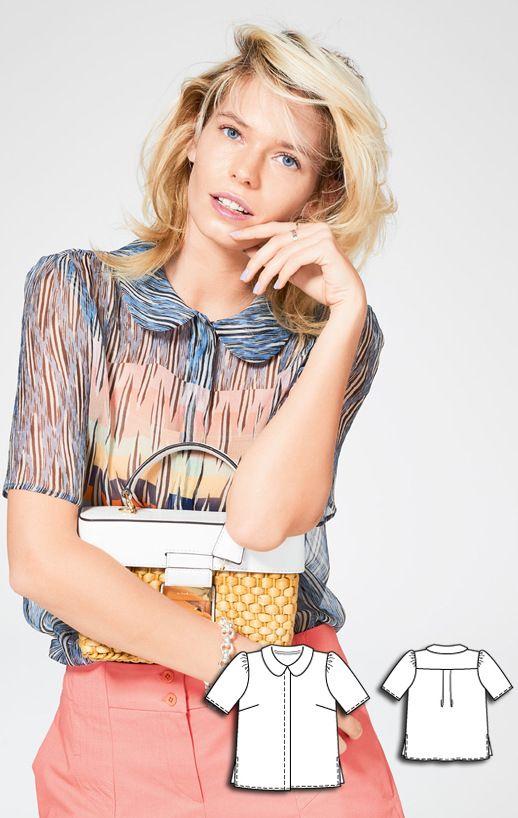 Blouse Burda Jun 2016 #118B Pattern $5.99: http://www.burdastyle.com/pattern_store/patterns/short-sleeve-blouse-062016