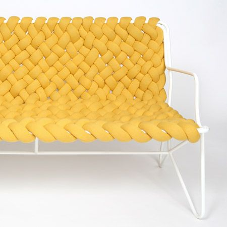 "Knitted sofa - designed by Daniel Hedner  makes me think of a couch skeleton in which the cushion is composed of tons of removable little ""pods"" or knitted/soft somethings."