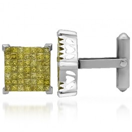 These exquisite mens diamond cufflinks are crafted in lustrous 14K White Gold. The square center piece of each cufflink is invisibly set with brilliant yellow princess cut diamonds. The frame of each center piece measures to 1/2 Inches in length and width and they both weigh a total of 12.6 grams. These finely detailed mens diamond cufflinks are ideal for a glamorous night out.: Cut Diamonds, Details Men, 14K White, Diamonds Cufflinks, Men'S Fashion, Yellow Princesses, Princesses Cut, Men Diamonds, Center Pieces