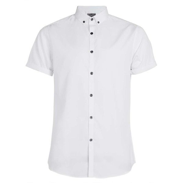 TOPMAN White Short Sleeve Button Down Smart Shirt ($29) ❤ liked on Polyvore featuring men's fashion, men's clothing, men's shirts, men's casual shirts, male clothes, shirts, white, mens white shirt, mens button up shirts and mens slim fit casual shirts