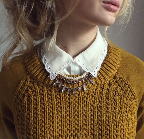 """Love the collared shirt paired with an overhead knitted sweater. These tones are beautiful together."""